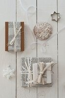 Festive gift-wrap ideas using recycled paper and ribbons