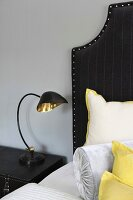 Vintage brass and black bedside lamp