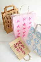 Creative crafting with paper: paper bags with stamped patterns