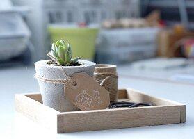 Selbstgemachtes Holztablett als Ablage oder Blumendekoration