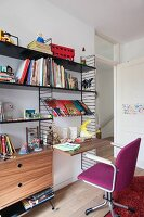 Retro String shelving with integrated desk and desk chair with purple cover