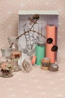 Craft materials and festive decorative ideas in pastel and copper shades