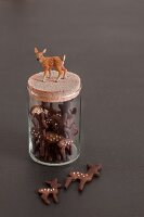 Deer-shaped biscuits in storage jar decorated with deer figurine
