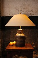 Table lamp with base hand-made from old milk churn