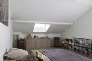 Attic bedroom with sloping ceiling