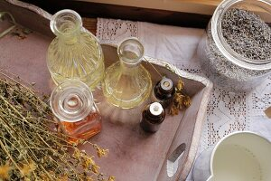 Floral oils and lavender flowers for natural cosmetics