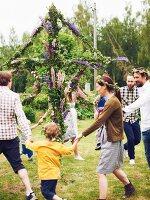 People dancing at midsummer festival