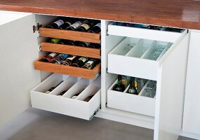 Open base units with wine rack and drawers of glasses