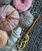 Various types of wool & crochet needles for knooking
