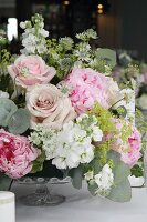 Romantic bouquet on wedding table