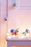 Colourful glittery Christmas baubles