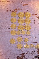 Golden embossed stars as decorations