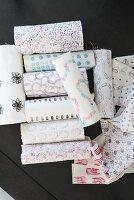 Homemade printed fabrics with various geometric patterns