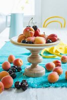Fruit on a stand made from a wooden base and a pan lid