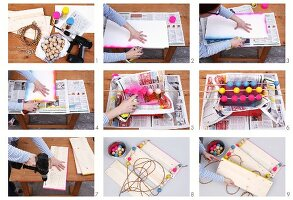 Instructions for making wooden shelved with colourful, painted wooden beads and boards threaded on rope