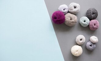 Balls of wool in various colours and textures (seen above)