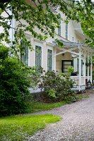 Traditional Swedish country house with veranda