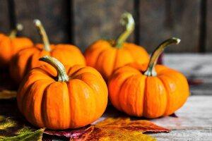 Orangefarbene Kürbisse und Herbstblätter auf rustikalem Holzuntergrund