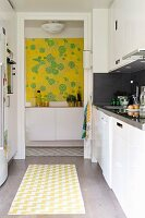 Modern kitchen with yellow accents