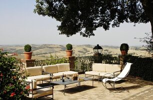 Metal furniture on Mediterranean with panoramic view