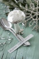 Glass mushroom ornament, spoon and motto