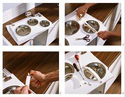 Halterung für Topfdeckel an Küchenschranktür anbringen