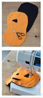 Instructions for sewing a pumpkin-shaped Halloween bag