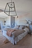 Elegant bedroom in soft beige shades