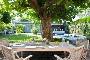 Seating area under tree in garden with view of pool and bungalow