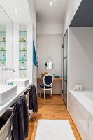 Twin washstand and dressing table in bathroom