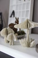 Toadstool ornaments made from old book pages