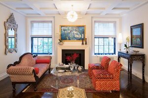 Classic furniture and coffered ceiling in living room