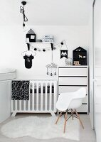 Shell chair in monochrome child's bedroom