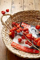 Retro magazines and red physalis lanterns in basket on rustic wooden floor