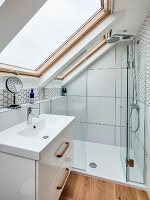 Small bathroom with sloping ceiling
