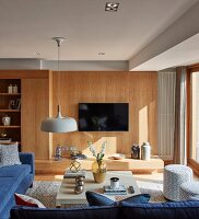 Wood-clad wall in living room