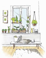 Illustration: a window design with a shelf for indoor plants