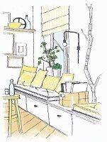 Illustration: Sitzbank mit Schubladen vor Fenster mit Grünpflanzen