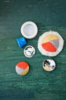 Homemade embroidered buttons