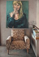 Portrait of woman above floral armchair next to shelf of books