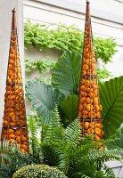 Arrangements of pumpkins in garden