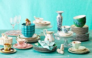 Crockery for wedding table