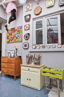 Artistic collection of retro furniture and clocks