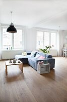 Exotic-wood parquet floor in minimalist living room