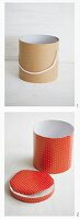 Covering a cardboard tube with red and white polka-dot wrapping paper