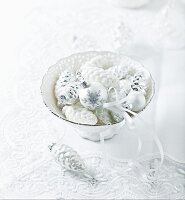 Christmas decorations in a porcelain dish