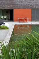 Modern brick extension with concrete terrace and plant in pool