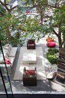 Modern outdoor furniture on summer terrace