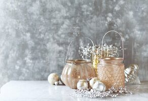 Candle lanterns and Christmas baubles