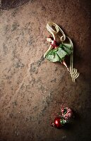 Vintage Christmas decorations on a stone surface